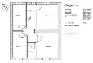 Die Schlafräume - 2 Doppel- + 1 Einzelzimmer, sowie ein kombinierter Wohn/Schlafraum befinden sich im OG